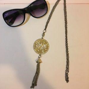 Gold Emblem w/ Tassel Necklace